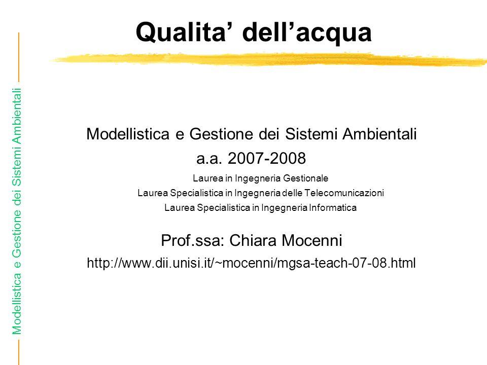 Modellistica e Gestione dei Sistemi Ambientali I rifiuti organici sono sostanze che si ossidano.