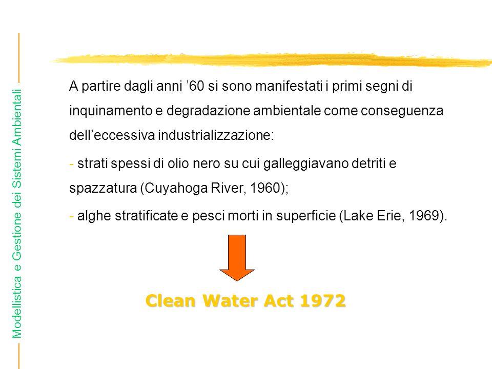 Modellistica e Gestione dei Sistemi Ambientali A partire dagli anni 60 si sono manifestati i primi segni di inquinamento e degradazione ambientale com