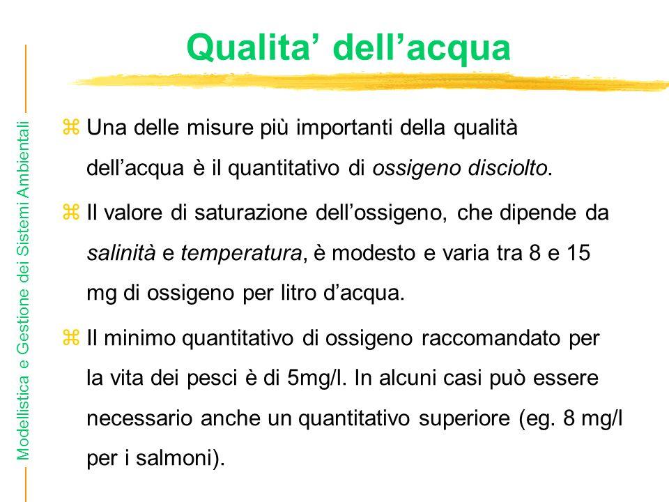 Modellistica e Gestione dei Sistemi Ambientali Qualita dellacqua Una delle misure più importanti della qualità dellacqua è il quantitativo di ossigeno