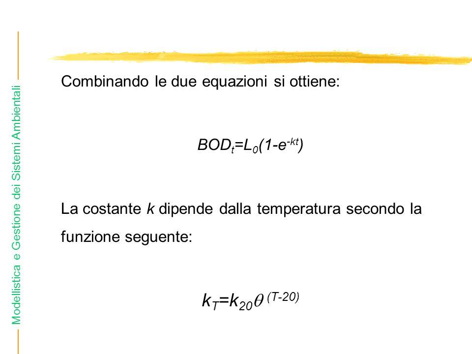 Modellistica e Gestione dei Sistemi Ambientali Combinando le due equazioni si ottiene: BOD t =L 0 (1-e -kt ) La costante k dipende dalla temperatura s