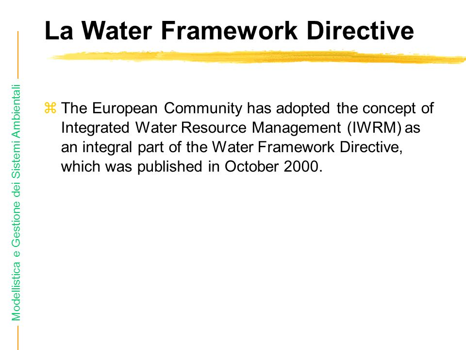 Modellistica e Gestione dei Sistemi Ambientali La Water Framework Directive General key features of the IWRM approach are the following: Interactions between biophysical, ecological and socioeconomic drivers, processes and impacts should be considered through an integrated system approach.