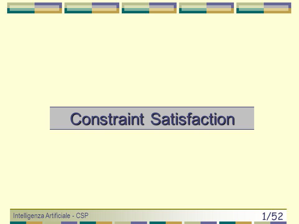 Intelligenza Artificiale - CSP 51/52 Generalizzazione del CSP Variabili, valori, vincoli (modello o constraint network) potrebbero avere pesi diversi: 1) Rilassamento peso vincoli (libertà di violare).