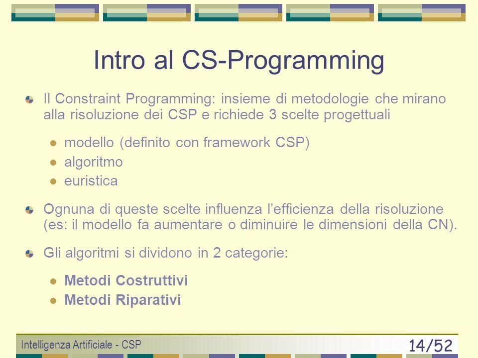 Intelligenza Artificiale - CSP 13/52 CSP e complessità CSP finiti: dominio finito di valori CSP infiniti:dominio infinito di valori (problemi affrontati dalla programmazione lineare) SAT: il SAT è un problema CSP finito e ogni CSP è riducibile al SAT, quindi: La complessità dei CSP finiti è esponenziale (es: Knapsack Problem 2 n )