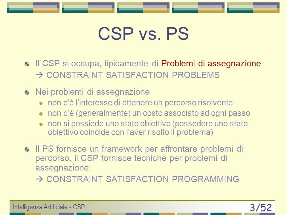 Intelligenza Artificiale - CSP 3/52 Il CSP si occupa, tipicamente di Problemi di assegnazione CONSTRAINT SATISFACTION PROBLEMS Nei problemi di assegnazione non cè linteresse di ottenere un percorso risolvente non cè (generalmente) un costo associato ad ogni passo non si possiede uno stato obiettivo (possedere uno stato obiettivo coincide con laver risolto il problema) Il PS fornisce un framework per affrontare problemi di percorso, il CSP fornisce tecniche per problemi di assegnazione: CONSTRAINT SATISFACTION PROGRAMMING CSP vs.