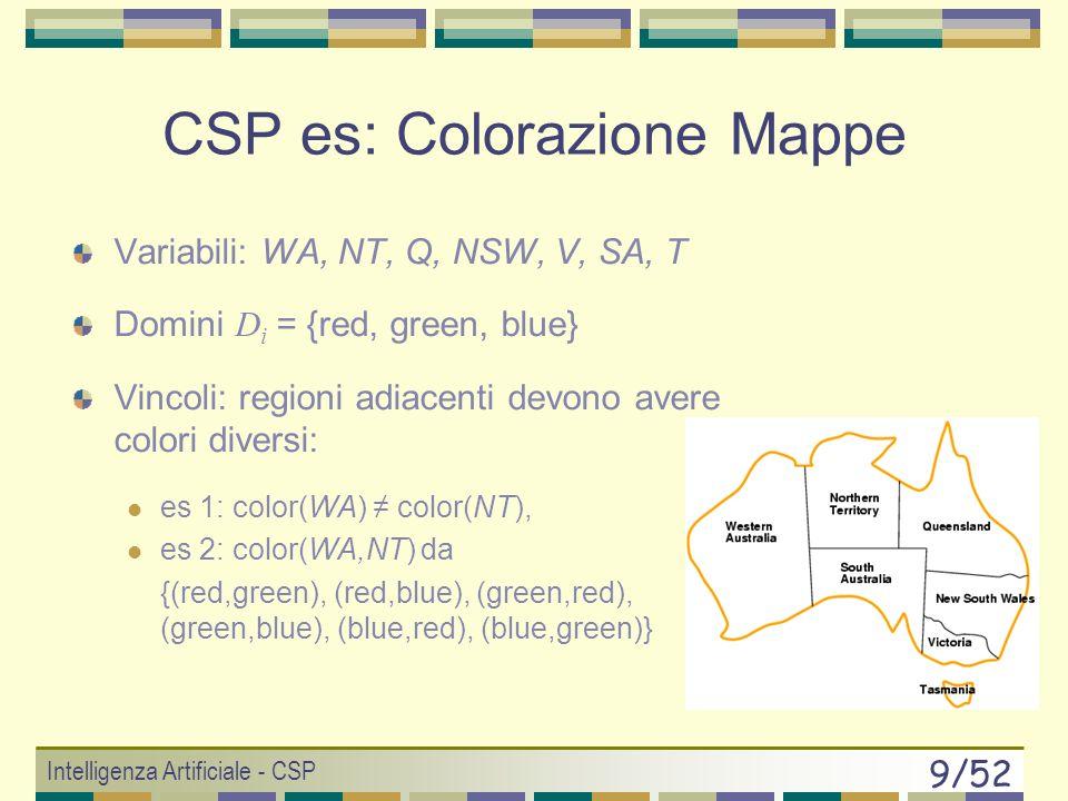 Intelligenza Artificiale - CSP 9/52 Variabili: WA, NT, Q, NSW, V, SA, T Domini D i = {red, green, blue} Vincoli: regioni adiacenti devono avere colori diversi: es 1: color(WA) color(NT), es 2: color(WA,NT) da {(red,green), (red,blue), (green,red), (green,blue), (blue,red), (blue,green)} CSP es: Colorazione Mappe