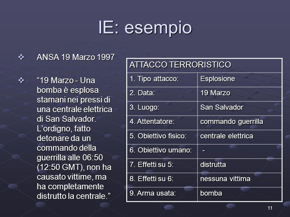 11 IE: esempio ANSA 19 Marzo 1997 ANSA 19 Marzo 1997 19 Marzo - Una bomba è esplosa stamani nei pressi di una centrale elettrica di San Salvador. Lord