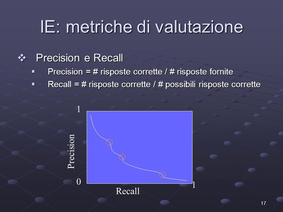 17 IE: metriche di valutazione Precision e Recall Precision e Recall Precision = # risposte corrette / # risposte fornite Precision = # risposte corre