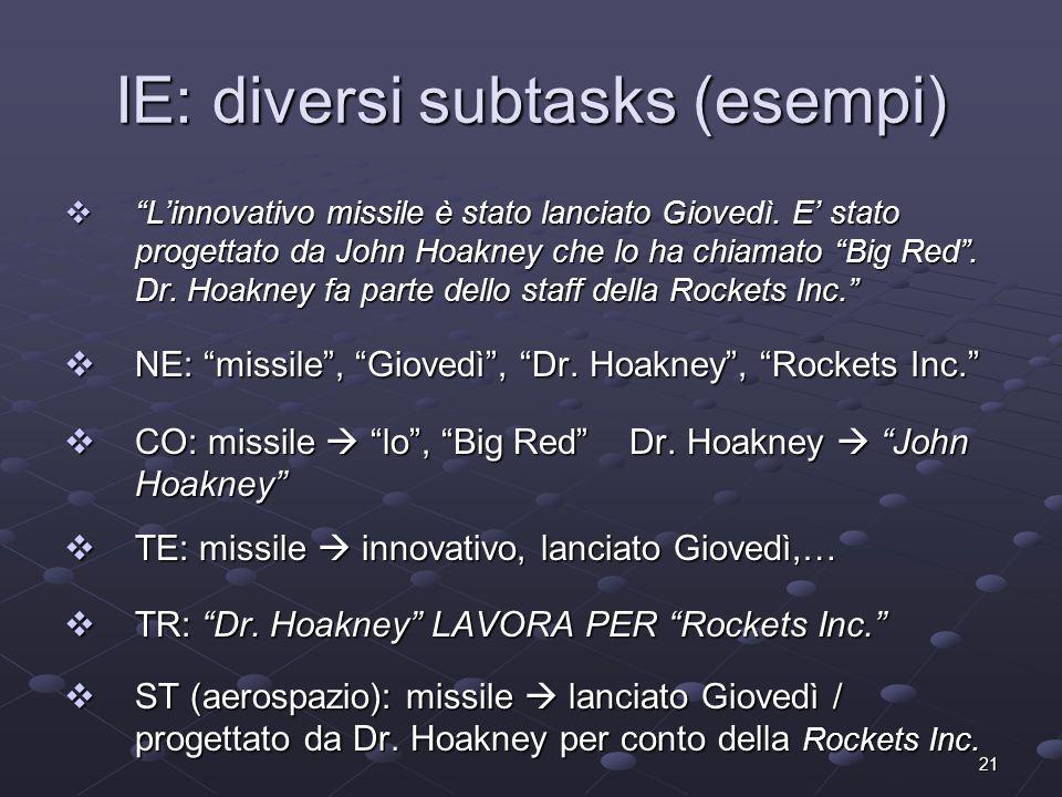 21 IE: diversi subtasks (esempi) Linnovativo missile è stato lanciato Giovedì. E stato progettato da John Hoakney che lo ha chiamato Big Red. Dr. Hoak