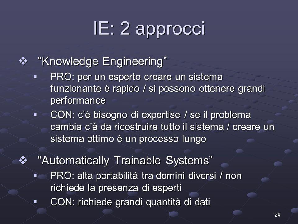 24 IE: 2 approcci Knowledge Engineering Knowledge Engineering PRO: per un esperto creare un sistema funzionante è rapido / si possono ottenere grandi