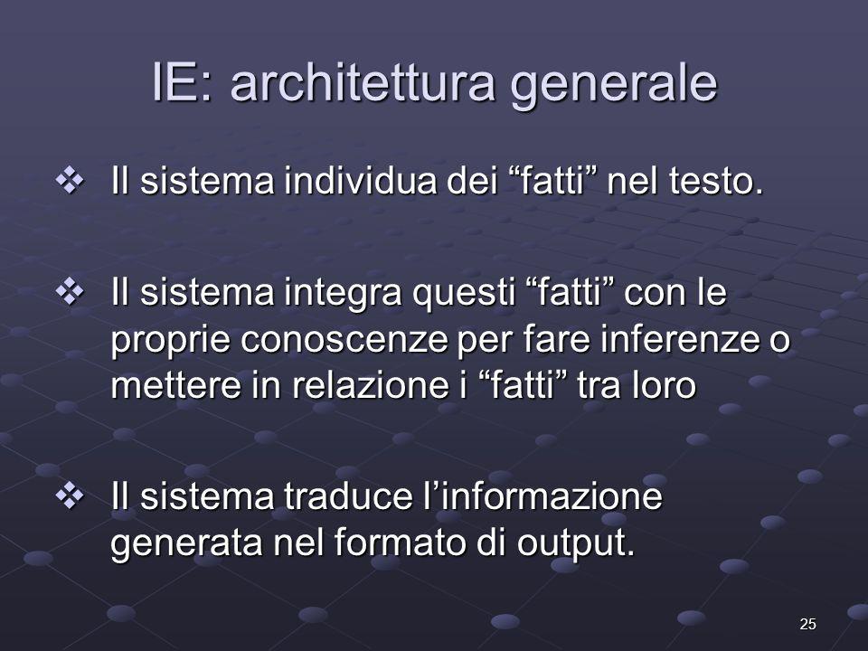 25 IE: architettura generale Il sistema individua dei fatti nel testo. Il sistema individua dei fatti nel testo. Il sistema integra questi fatti con l