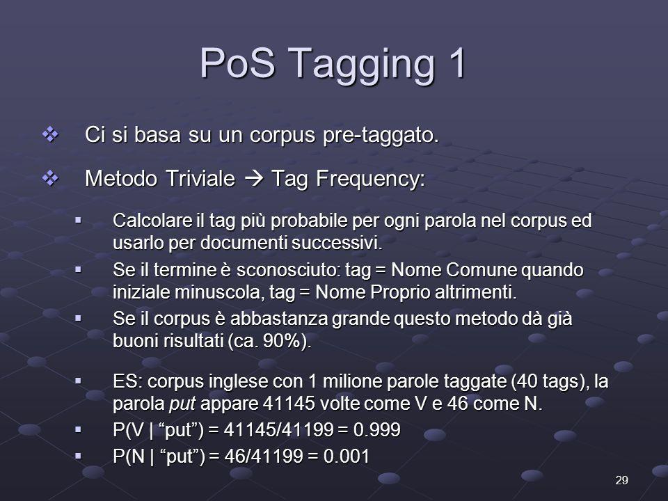 29 PoS Tagging 1 Ci si basa su un corpus pre-taggato. Ci si basa su un corpus pre-taggato. Metodo Triviale Tag Frequency: Metodo Triviale Tag Frequenc