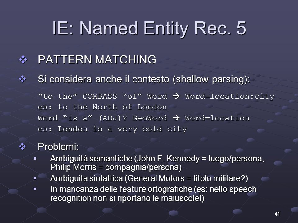 41 IE: Named Entity Rec.