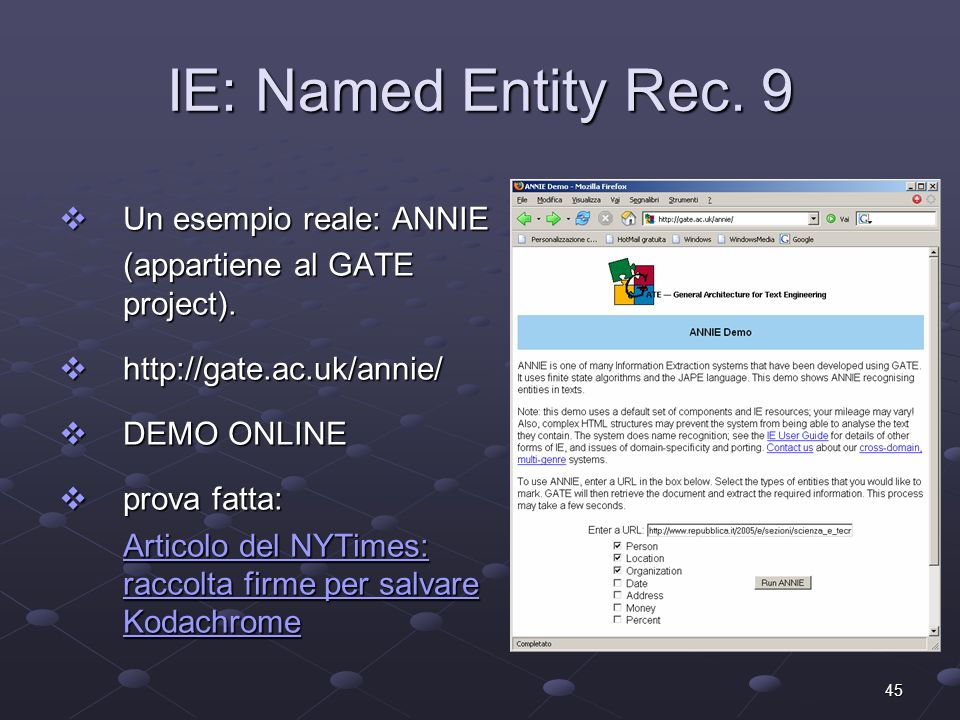 45 IE: Named Entity Rec.