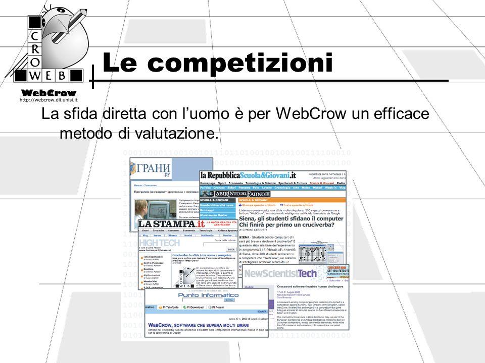Le competizioni WebCrow ha sfidato luomo in varie occasioni: Siena - Luglio 2005 25 studenti di Ingegneria WebCrow arriva 4° Siena - Febbraio 2006: 181 studenti Univ.