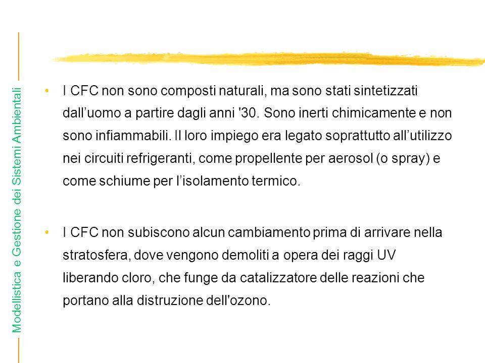 Modellistica e Gestione dei Sistemi Ambientali I CFC non sono composti naturali, ma sono stati sintetizzati dalluomo a partire dagli anni '30. Sono in