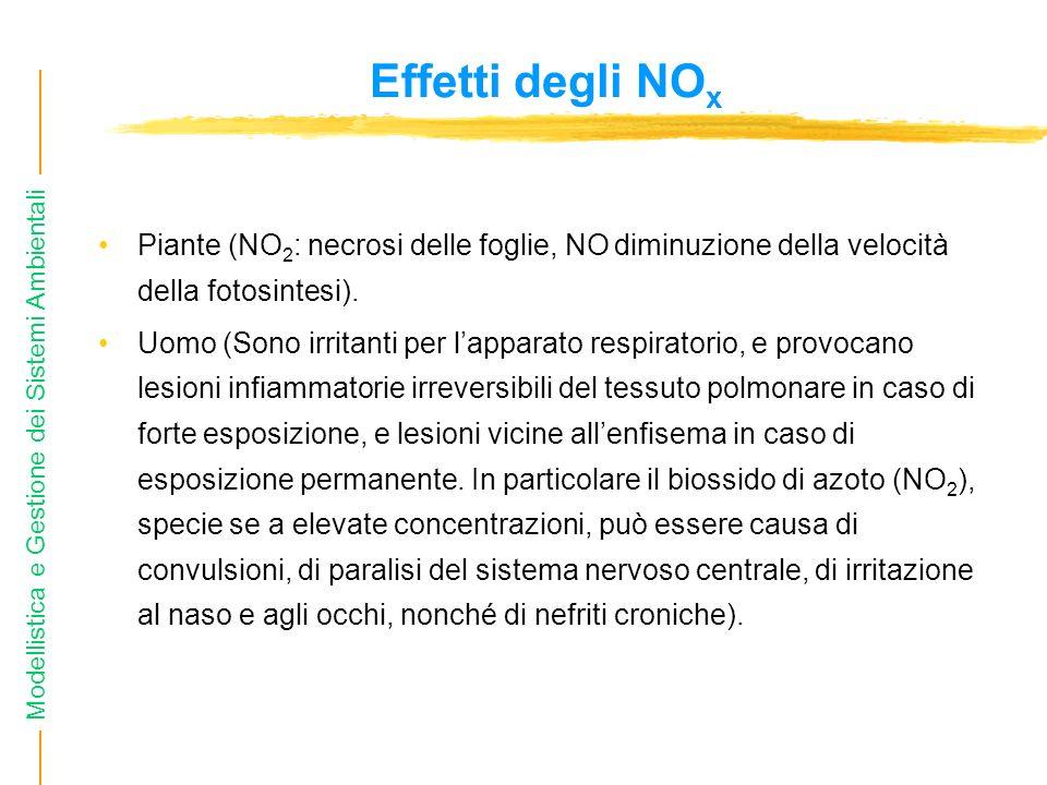 Modellistica e Gestione dei Sistemi Ambientali Effetti degli NO x Piante (NO 2 : necrosi delle foglie, NO diminuzione della velocità della fotosintesi