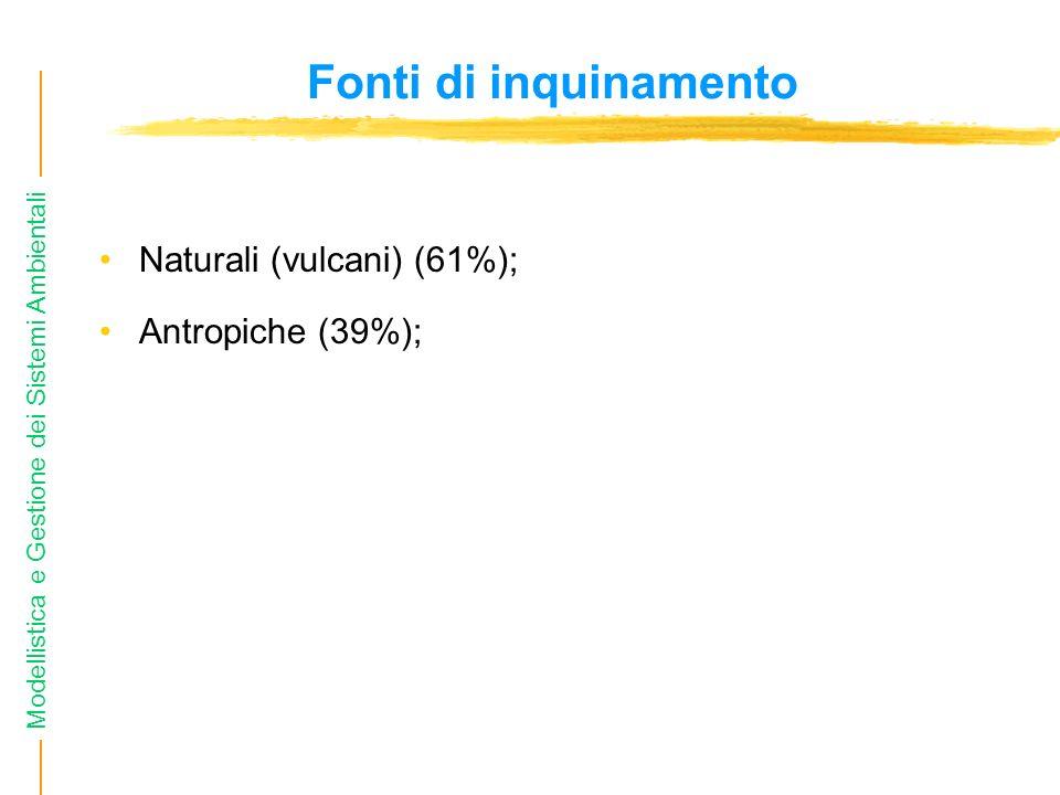 Modellistica e Gestione dei Sistemi Ambientali Fonti di inquinamento Naturali (vulcani) (61%); Antropiche (39%);