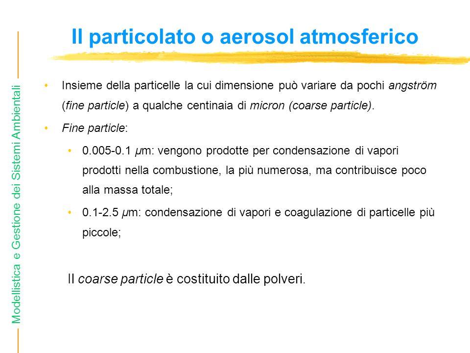 Modellistica e Gestione dei Sistemi Ambientali Il particolato o aerosol atmosferico Insieme della particelle la cui dimensione può variare da pochi an