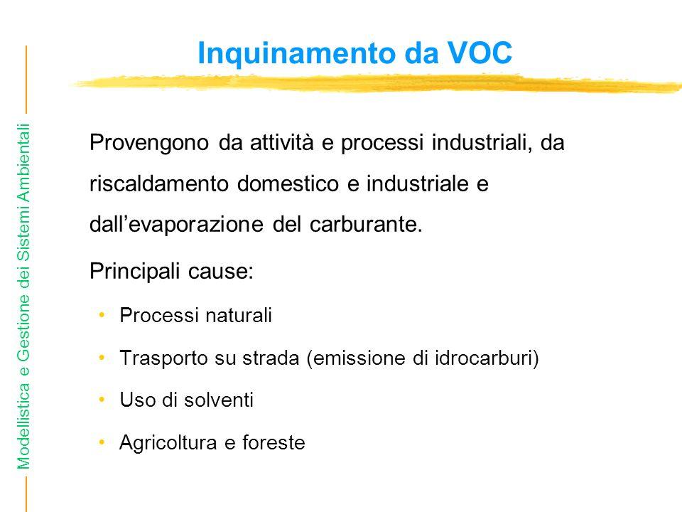 Modellistica e Gestione dei Sistemi Ambientali Inquinamento da VOC Provengono da attività e processi industriali, da riscaldamento domestico e industr