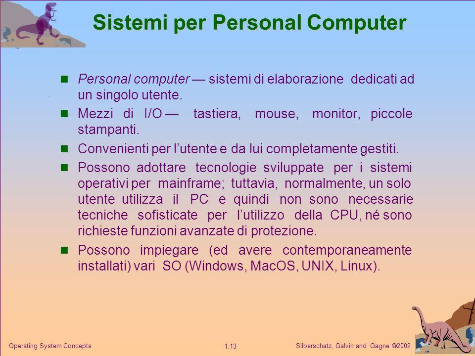 Silberschatz, Galvin and Gagne 2002 1.13 Operating System Concepts Sistemi per Personal Computer Personal computer sistemi di elaborazione dedicati ad un singolo utente.