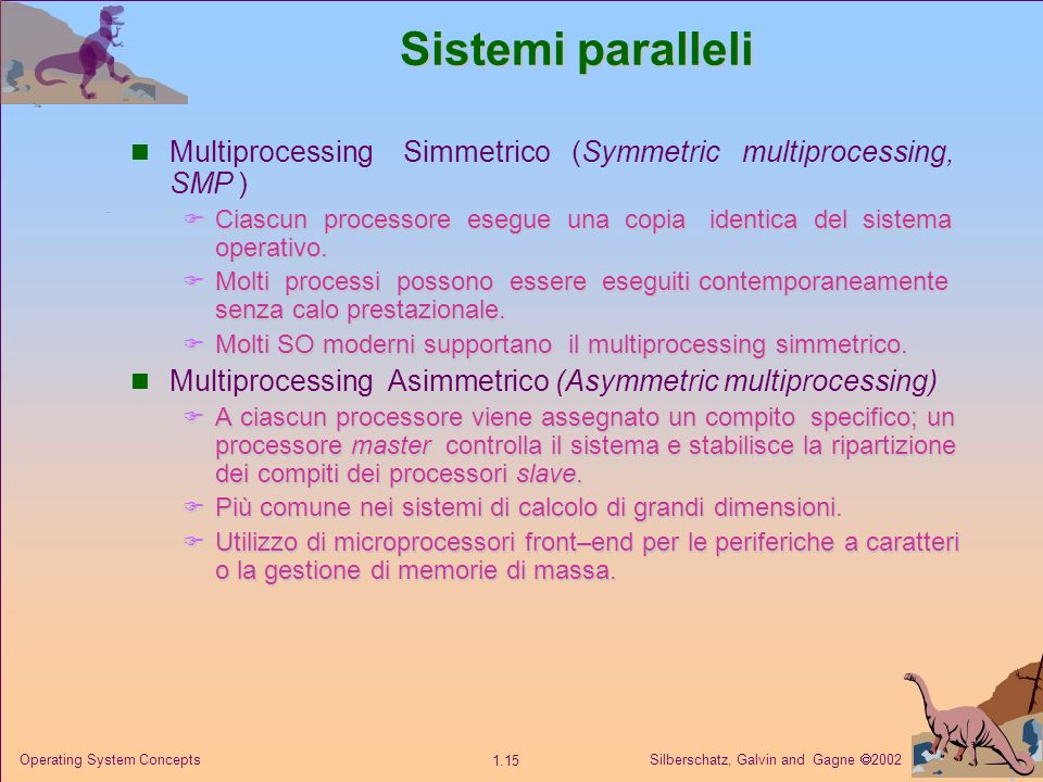 Silberschatz, Galvin and Gagne 2002 1.15 Operating System Concepts Sistemi paralleli Multiprocessing Simmetrico (Symmetric multiprocessing, SMP ) Cias