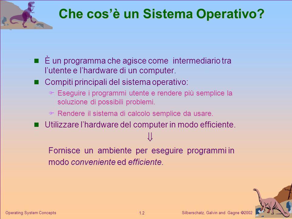 Silberschatz, Galvin and Gagne 2002 1.2 Operating System Concepts Che cosè un Sistema Operativo.