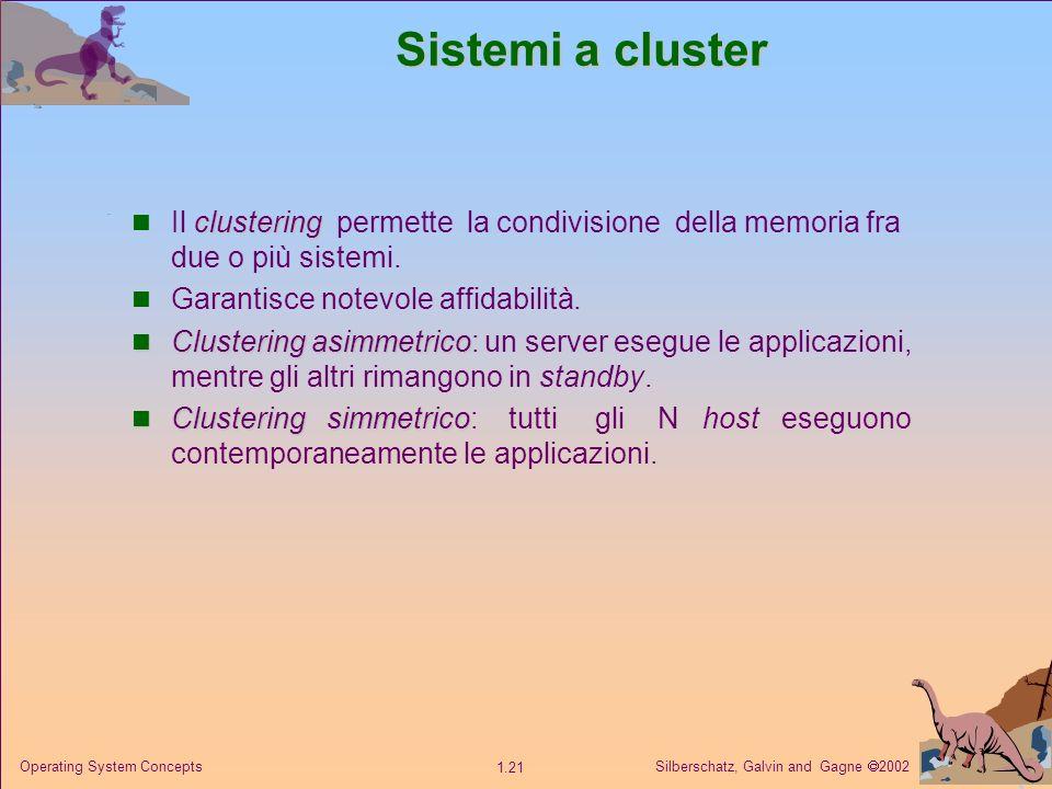Silberschatz, Galvin and Gagne 2002 1.21 Operating System Concepts Sistemi a cluster clustering Il clustering permette la condivisione della memoria fra due o più sistemi.