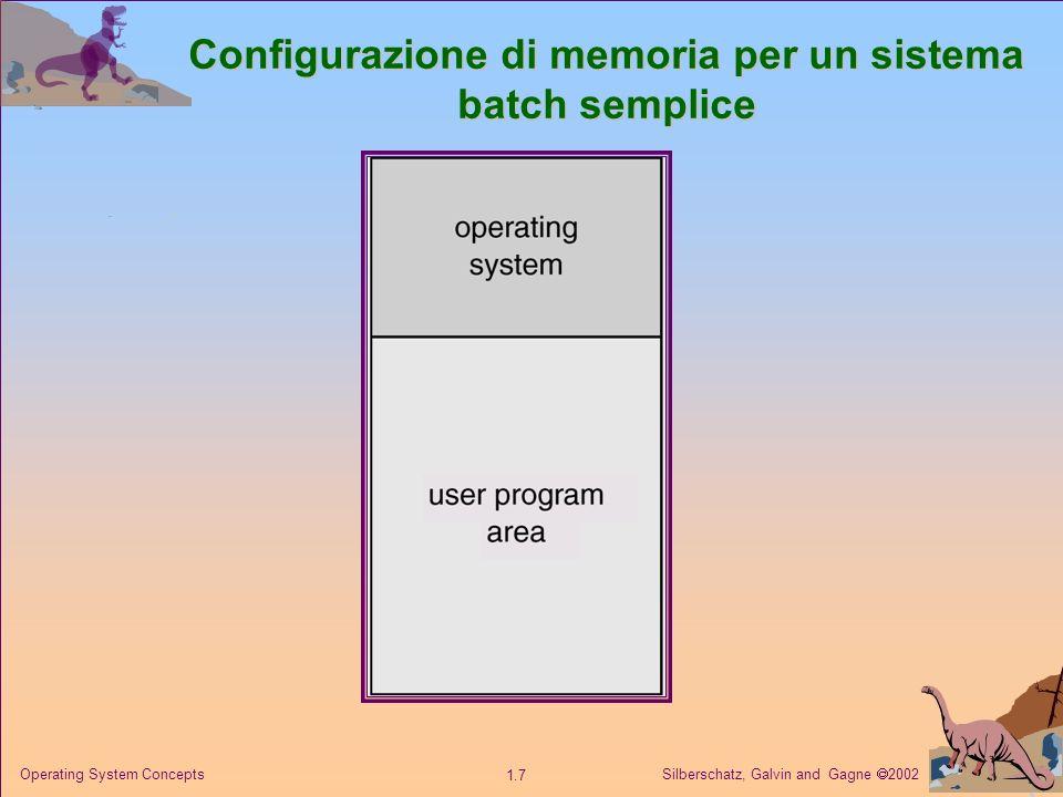 Silberschatz, Galvin and Gagne 2002 1.8 Operating System Concepts Sistemi batch semplici: problemi Basse prestazioni Basse prestazioni: le operazioni di elaborazione e di ingresso/uscita non possono essere svolte contemporaneamente.