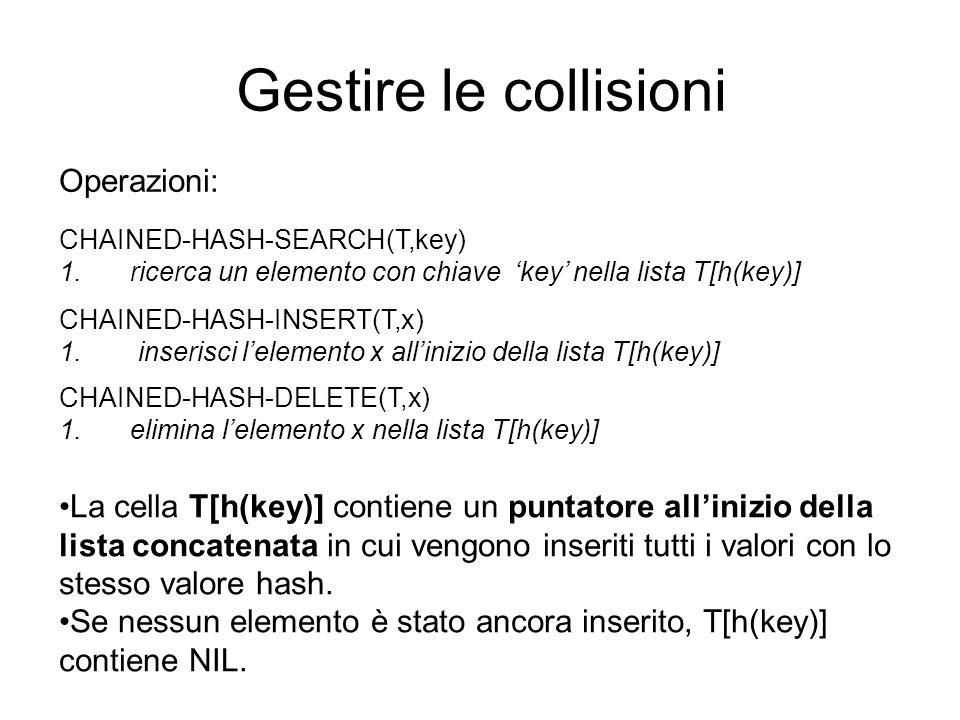 Gestire le collisioni Operazioni: CHAINED-HASH-INSERT(T,x) 1. inserisci lelemento x allinizio della lista T[h(key)] CHAINED-HASH-SEARCH(T,key) 1. rice