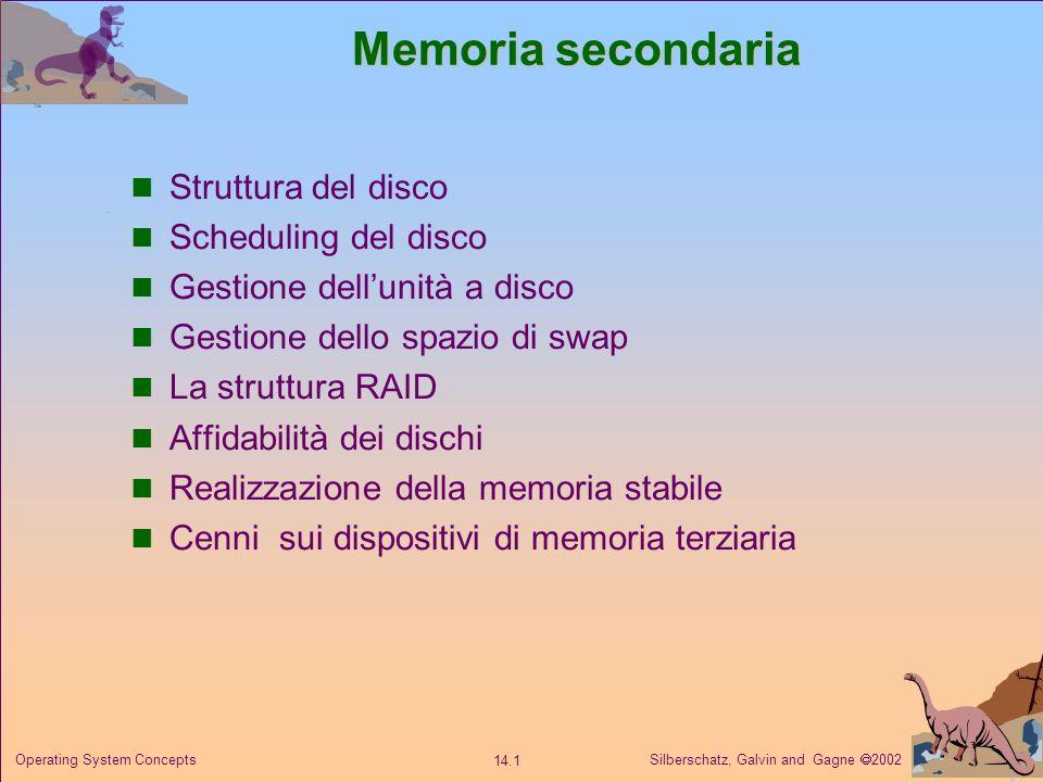 Silberschatz, Galvin and Gagne 2002 14.12 Operating System Concepts Gestione dello spazio di swap Spazio di swap Spazio di swap: la memoria virtuale impiega lo spazio su disco come unestensione della memoria centrale.