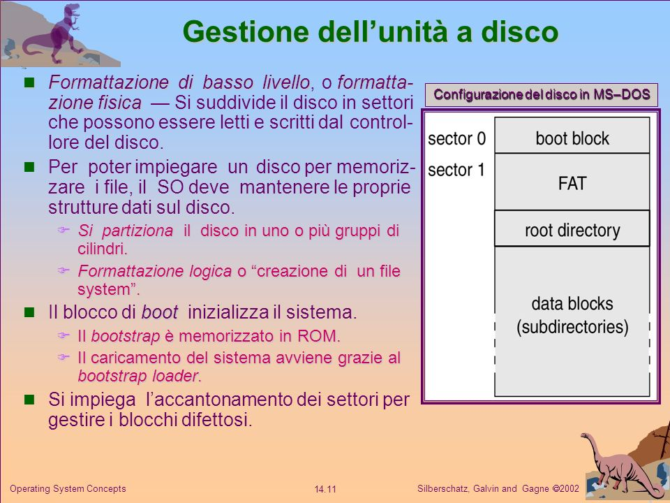 Silberschatz, Galvin and Gagne 2002 14.11 Operating System Concepts Gestione dellunità a disco Formattazione di basso livelloformatta- zione fisica Fo