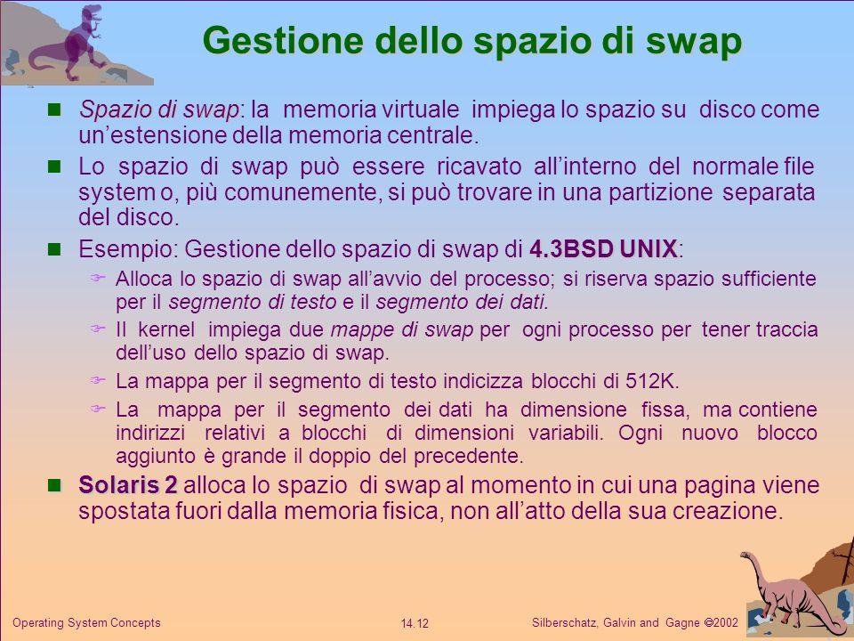Silberschatz, Galvin and Gagne 2002 14.12 Operating System Concepts Gestione dello spazio di swap Spazio di swap Spazio di swap: la memoria virtuale i