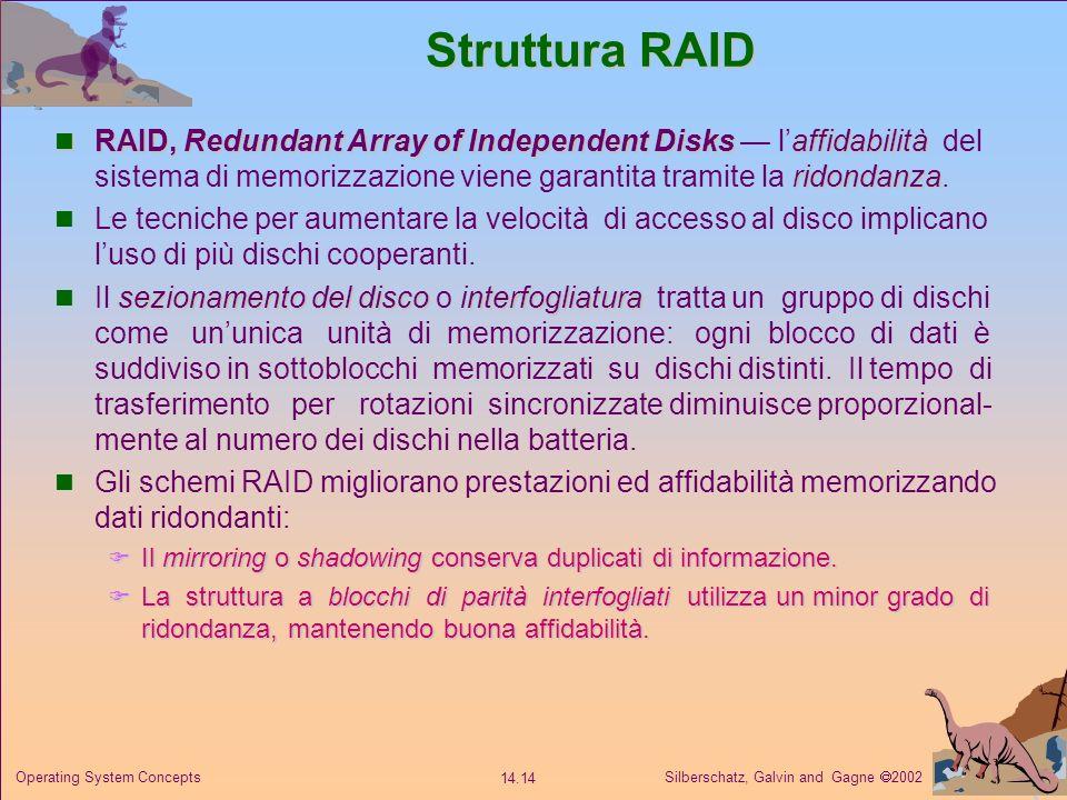 Silberschatz, Galvin and Gagne 2002 14.14 Operating System Concepts Struttura RAID RAID, Redundant Array of Independent Disksaffidabilità ridondanza R