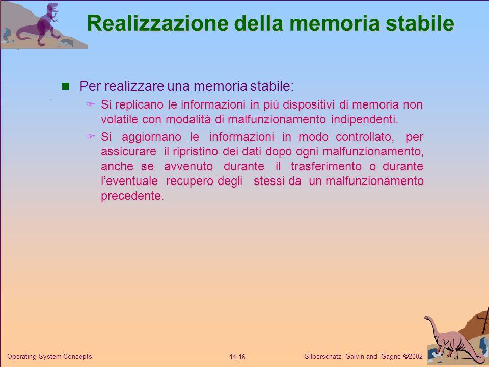 Silberschatz, Galvin and Gagne 2002 14.16 Operating System Concepts Realizzazione della memoria stabile Per realizzare una memoria stabile: Si replica