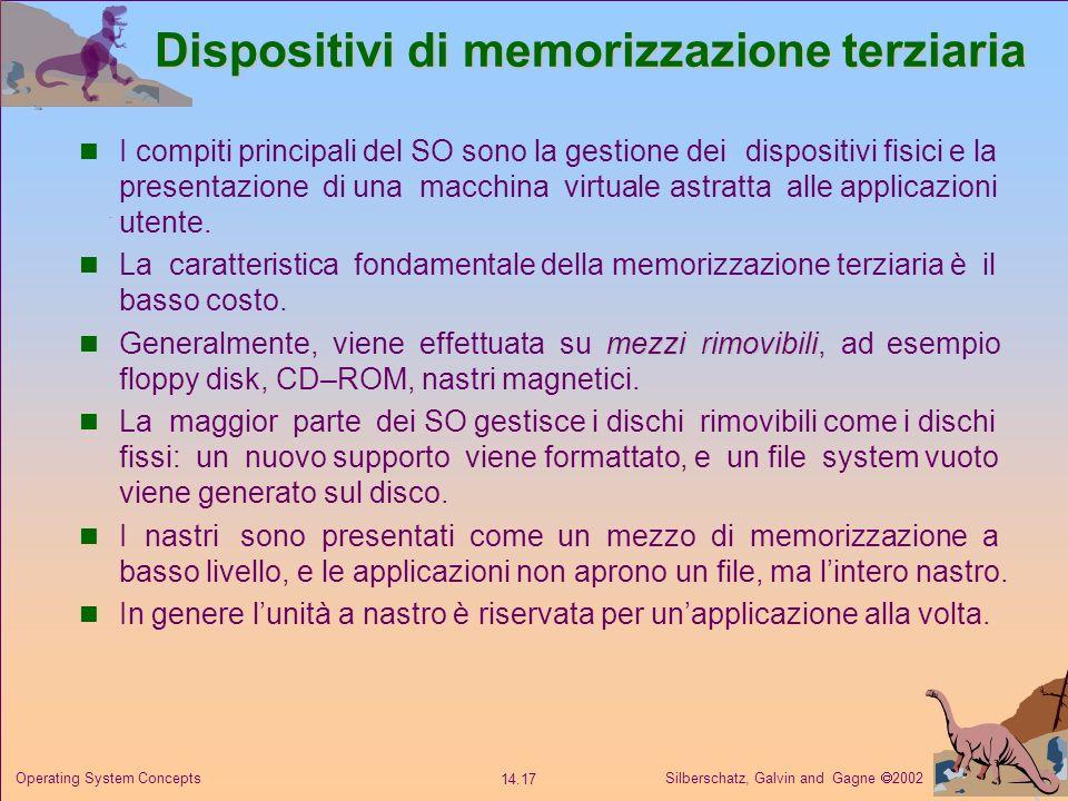 Silberschatz, Galvin and Gagne 2002 14.17 Operating System Concepts Dispositivi di memorizzazione terziaria I compiti principali del SO sono la gestio