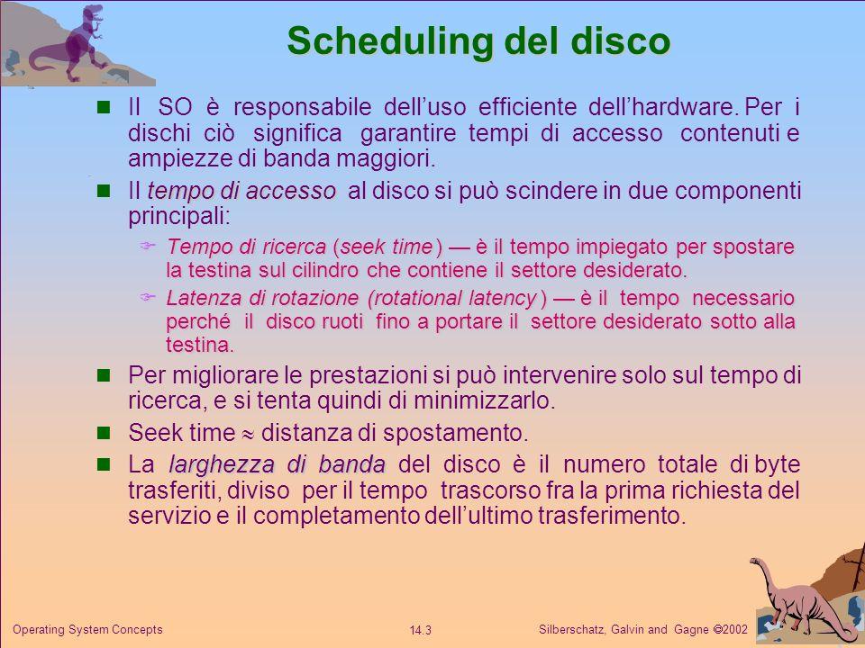 Silberschatz, Galvin and Gagne 2002 14.3 Operating System Concepts Scheduling del disco Il SO è responsabile delluso efficiente dellhardware. Per i di