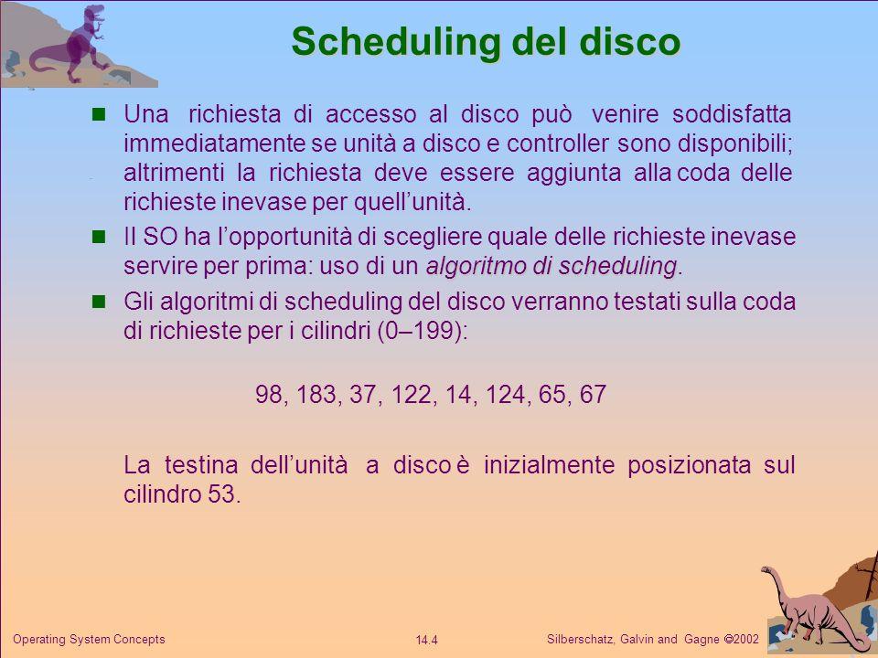 Silberschatz, Galvin and Gagne 2002 14.4 Operating System Concepts Scheduling del disco Una richiesta di accesso al disco può venire soddisfatta immed