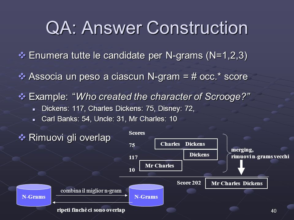 40 QA: Answer Construction Enumera tutte le candidate per N-grams (N=1,2,3) Enumera tutte le candidate per N-grams (N=1,2,3) Associa un peso a ciascun N-gram = # occ.* score Associa un peso a ciascun N-gram = # occ.* score Example: Who created the character of Scrooge.