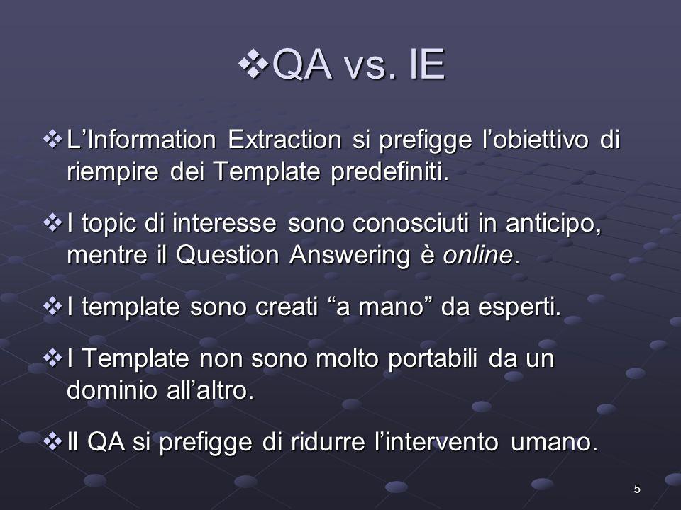 6 Relazioni tra QA e IR/IE Relazioni tra QA e IR/IE QA deriva da IR in quanto: QA deriva da IR in quanto: Può essere visto come un Passage Retrieval portato al limite.