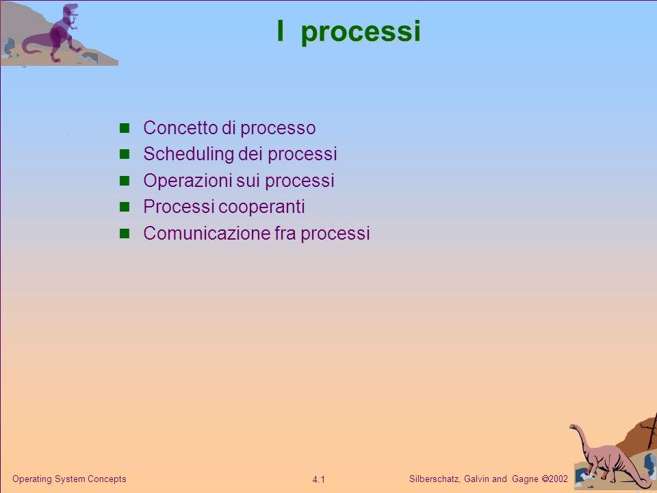 Silberschatz, Galvin and Gagne 2002 4.12 Operating System Concepts Creazione di processi Il processo padre crea processi figli che, a loro volta, creano altri processi, formando un albero di processi.