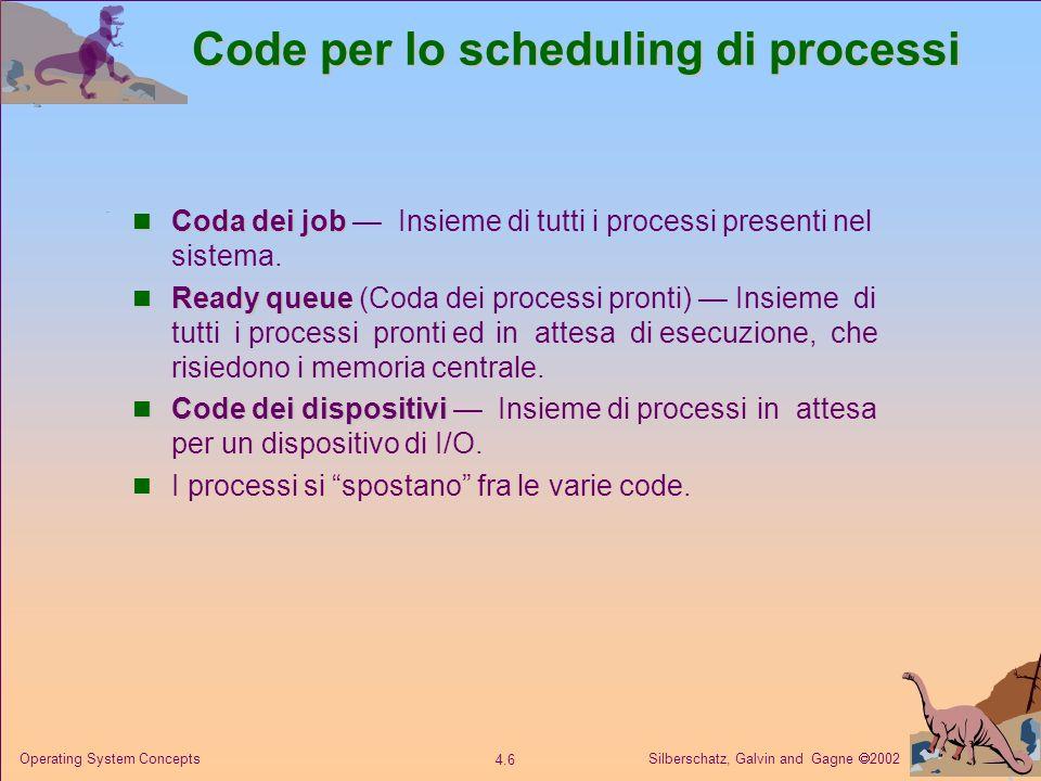 Silberschatz, Galvin and Gagne 2002 4.7 Operating System Concepts Ready queue e code ai dispositivi di I/O