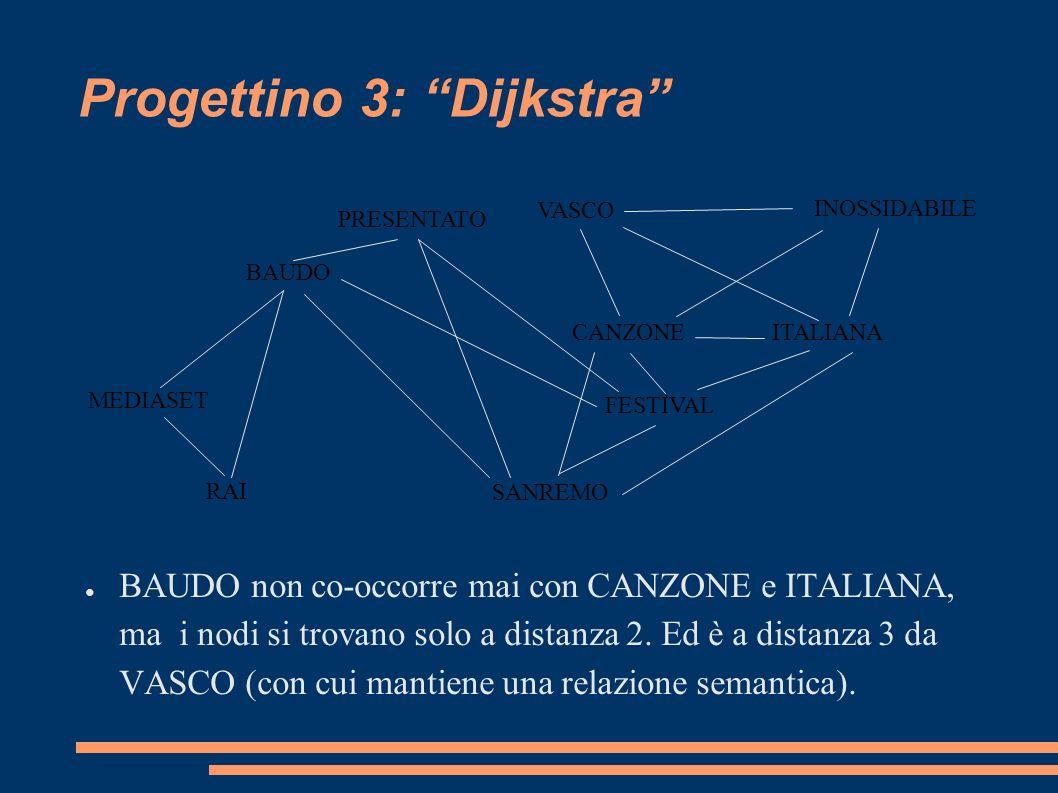 Progettino 3: Dijkstra (1) Si possono rappresentare le relazioni di co-occorrenza (e quindi di legame semantico) in un grafo.