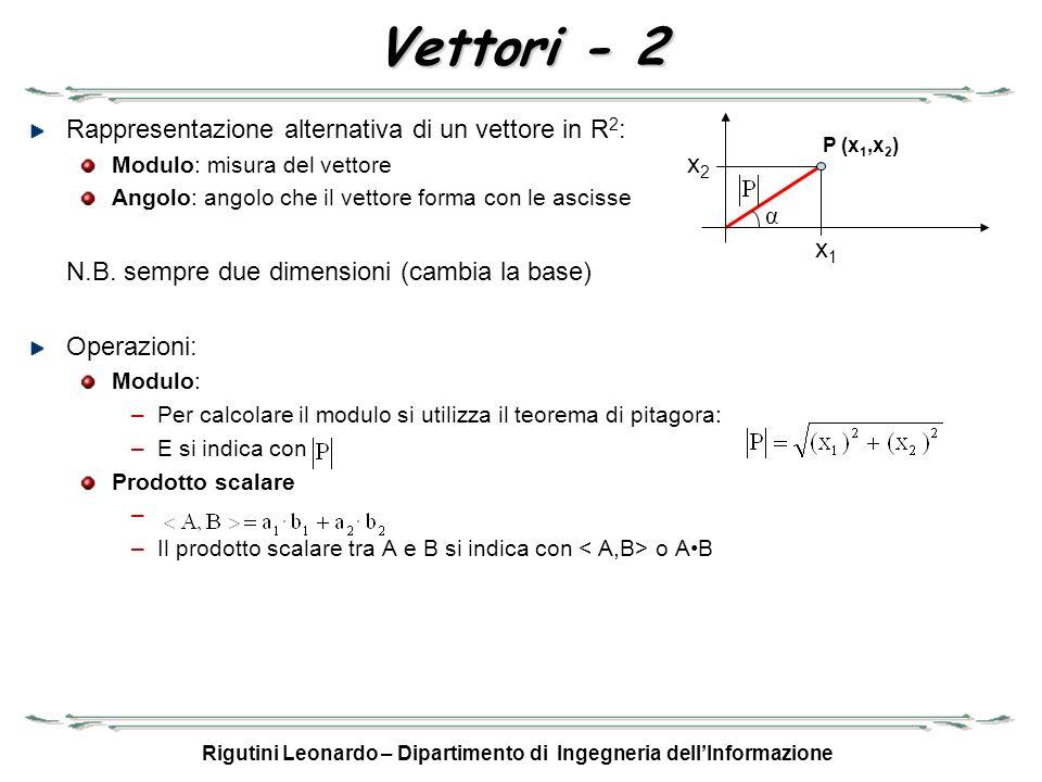 Rigutini Leonardo – Dipartimento di Ingegneria dellInformazione Vettori - 2 Rappresentazione alternativa di un vettore in R 2 : Modulo: misura del vet