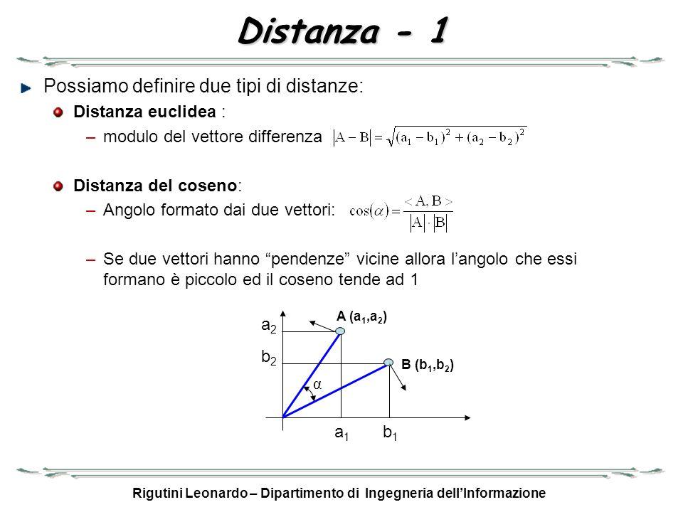 Rigutini Leonardo – Dipartimento di Ingegneria dellInformazione Distanza - 1 Possiamo definire due tipi di distanze: Distanza euclidea : –modulo del v