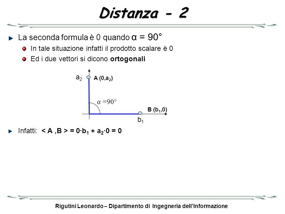 Rigutini Leonardo – Dipartimento di Ingegneria dellInformazione Distanza - 2 La seconda formula è 0 quando α = 90° In tale situazione infatti il prodo