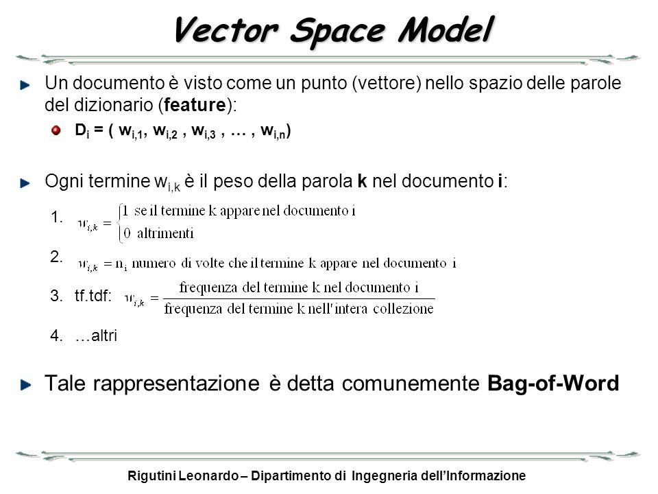 Rigutini Leonardo – Dipartimento di Ingegneria dellInformazione Vector Space Model Un documento è visto come un punto (vettore) nello spazio delle par