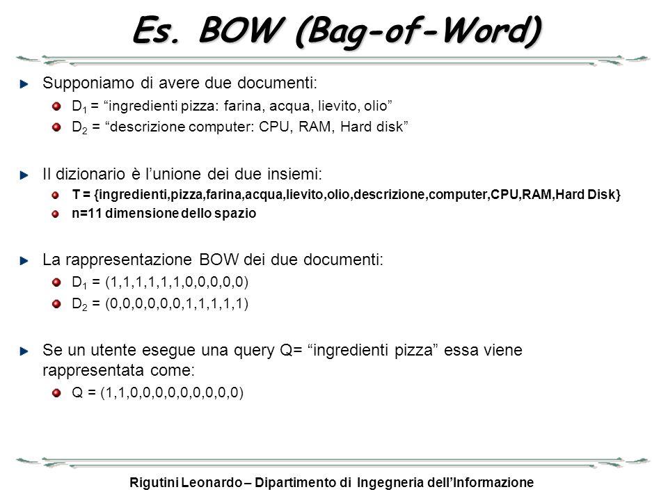 Rigutini Leonardo – Dipartimento di Ingegneria dellInformazione Es. BOW (Bag-of-Word) Supponiamo di avere due documenti: D 1 = ingredienti pizza: fari