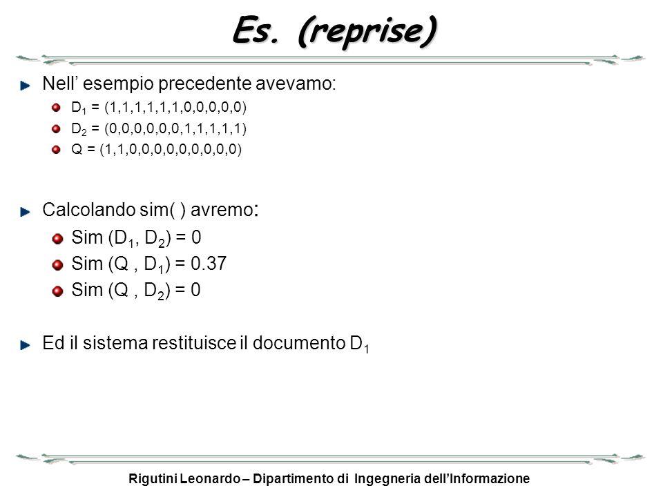 Rigutini Leonardo – Dipartimento di Ingegneria dellInformazione Es. (reprise) Nell esempio precedente avevamo: D 1 = (1,1,1,1,1,1,0,0,0,0,0) D 2 = (0,