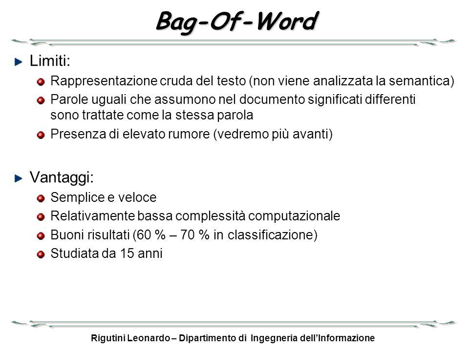 Rigutini Leonardo – Dipartimento di Ingegneria dellInformazione Bag-Of-Word Limiti: Rappresentazione cruda del testo (non viene analizzata la semantic