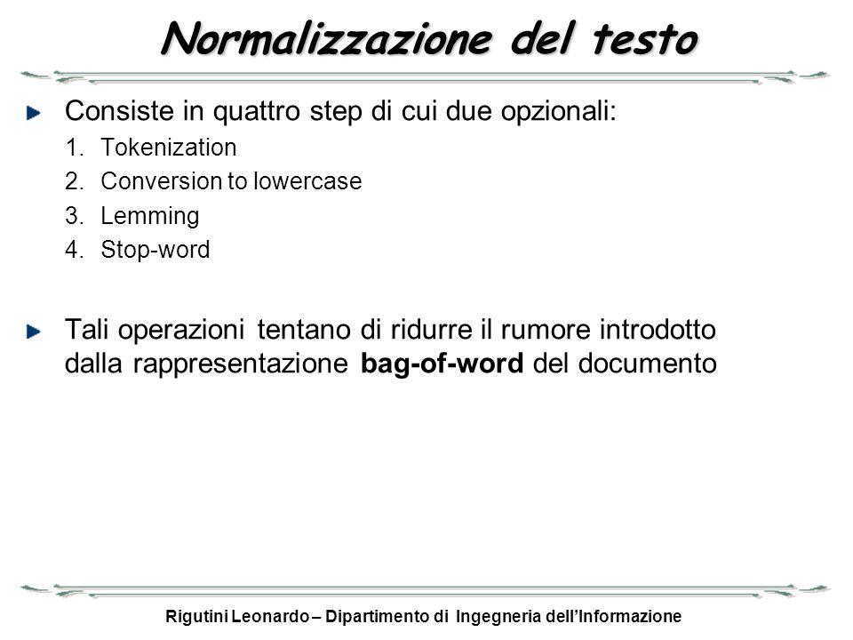 Rigutini Leonardo – Dipartimento di Ingegneria dellInformazione Normalizzazione del testo Consiste in quattro step di cui due opzionali: 1.Tokenizatio